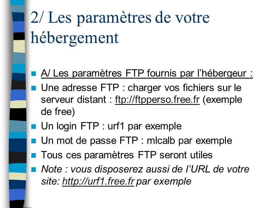 2/ Les paramètres de votre hébergement A/ Les paramètres FTP fournis par lhébergeur : Une adresse FTP : charger vos fichiers sur le serveur distant :
