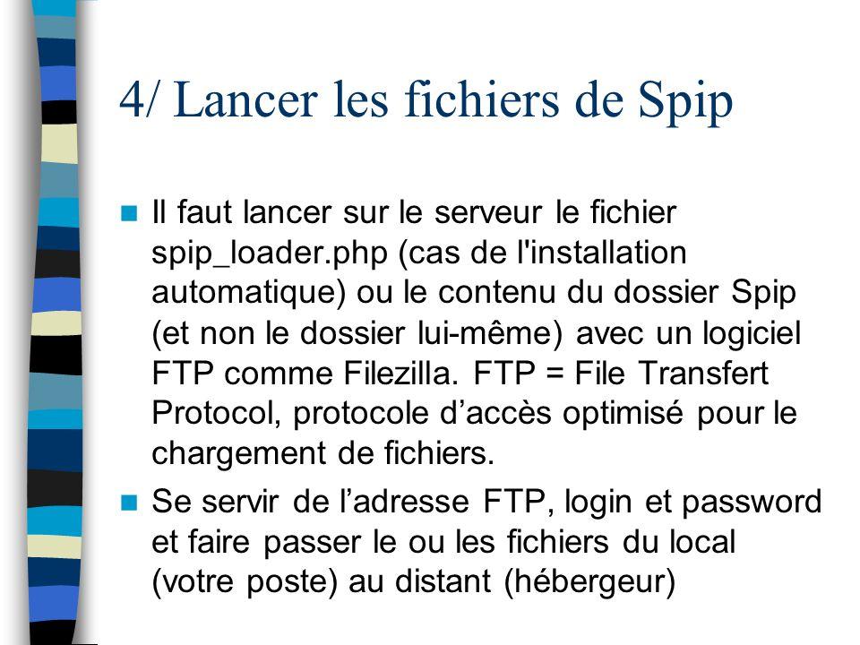 4/ Lancer les fichiers de Spip Il faut lancer sur le serveur le fichier spip_loader.php (cas de l'installation automatique) ou le contenu du dossier S