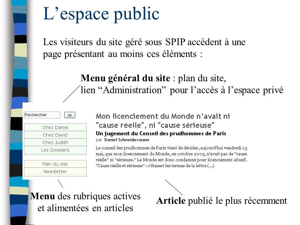 Lespace public Les visiteurs du site géré sous SPIP accèdent à une page présentant au moins ces éléments : Menu général du site : plan du site, lien A