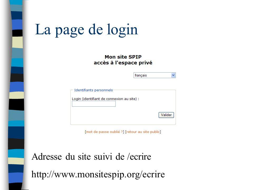La page de login Adresse du site suivi de /ecrire http://www.monsitespip.org/ecrire