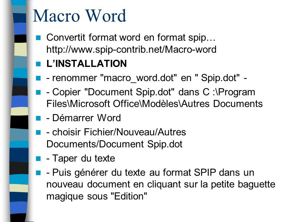 Macro Word Convertit format word en format spip… http://www.spip-contrib.net/Macro-word LINSTALLATION - renommer