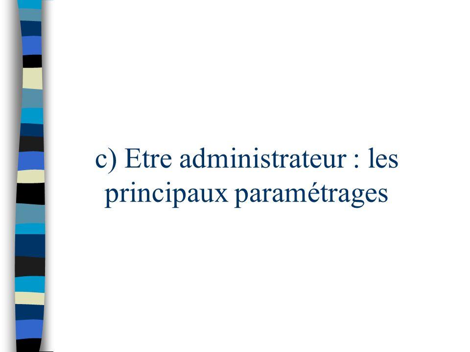 c) Etre administrateur : les principaux paramétrages