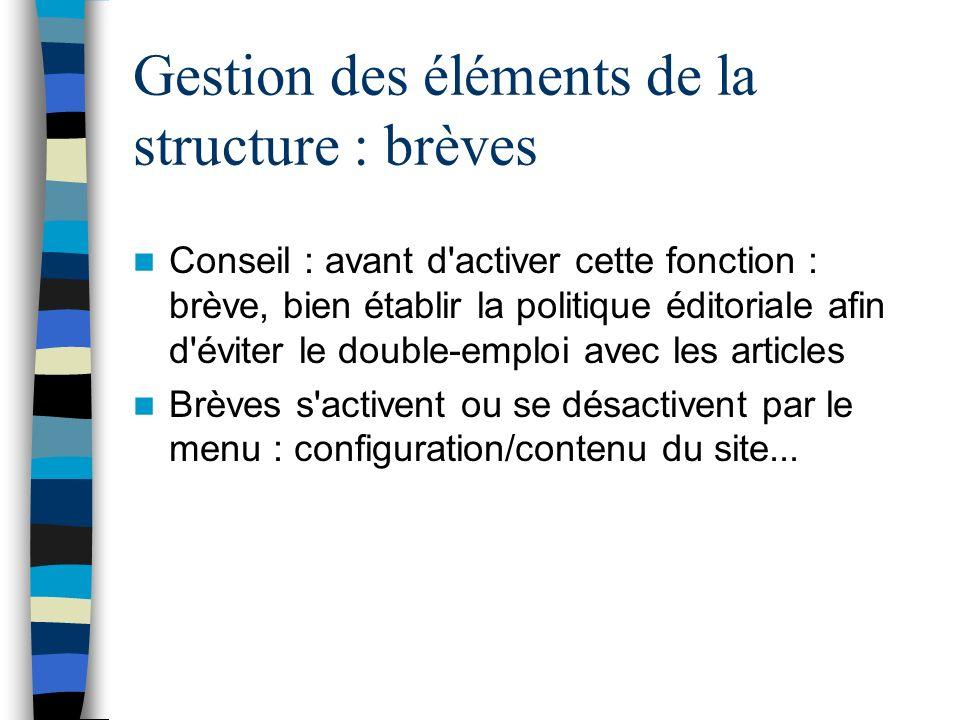 Gestion des éléments de la structure : brèves Conseil : avant d'activer cette fonction : brève, bien établir la politique éditoriale afin d'éviter le