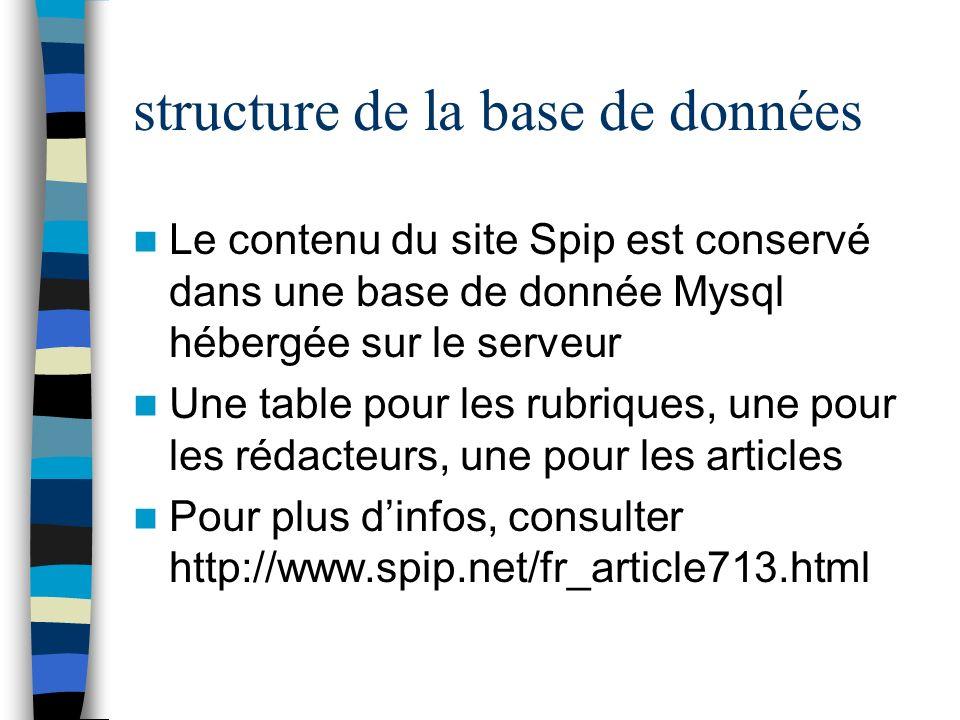 structure de la base de données Le contenu du site Spip est conservé dans une base de donnée Mysql hébergée sur le serveur Une table pour les rubrique