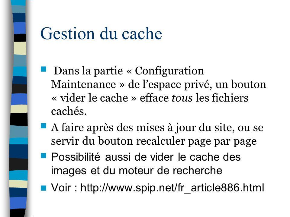 Gestion du cache Dans la partie « Configuration Maintenance » de lespace privé, un bouton « vider le cache » efface tous les fichiers cachés. A faire