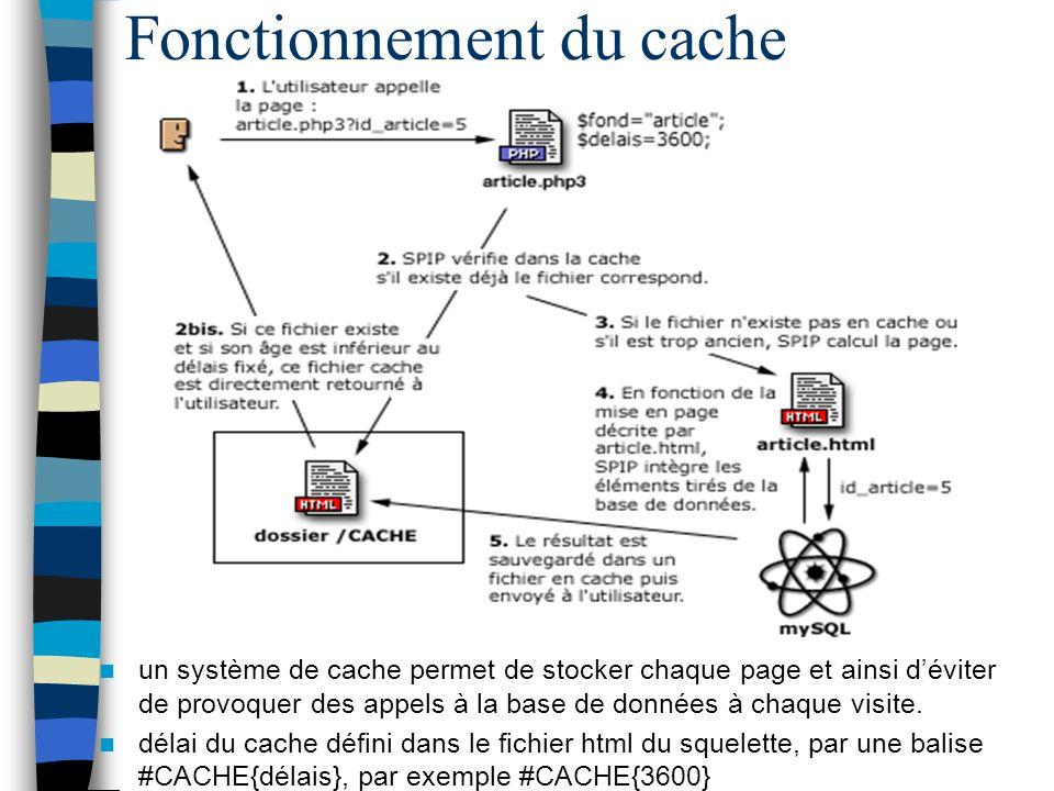 Fonctionnement du cache un système de cache permet de stocker chaque page et ainsi déviter de provoquer des appels à la base de données à chaque visit