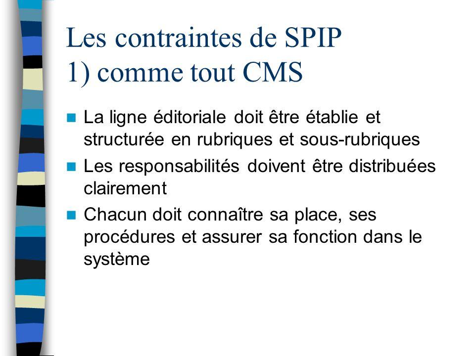 Les contraintes de SPIP 1) comme tout CMS La ligne éditoriale doit être établie et structurée en rubriques et sous-rubriques Les responsabilités doive