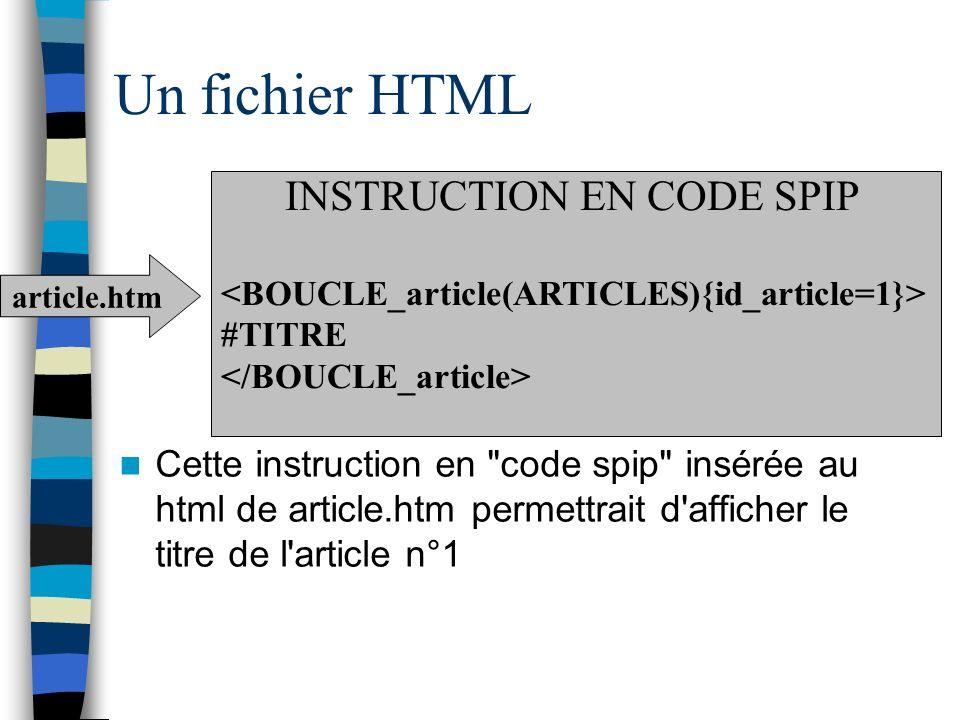 Un fichier HTML Cette instruction en