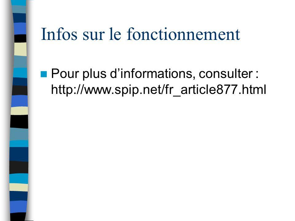 Infos sur le fonctionnement Pour plus dinformations, consulter : http://www.spip.net/fr_article877.html