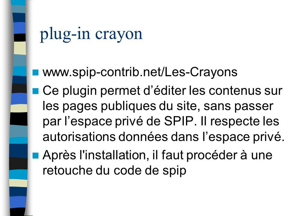 plug-in crayon www.spip-contrib.net/Les-Crayons Ce plugin permet déditer les contenus sur les pages publiques du site, sans passer par lespace privé d