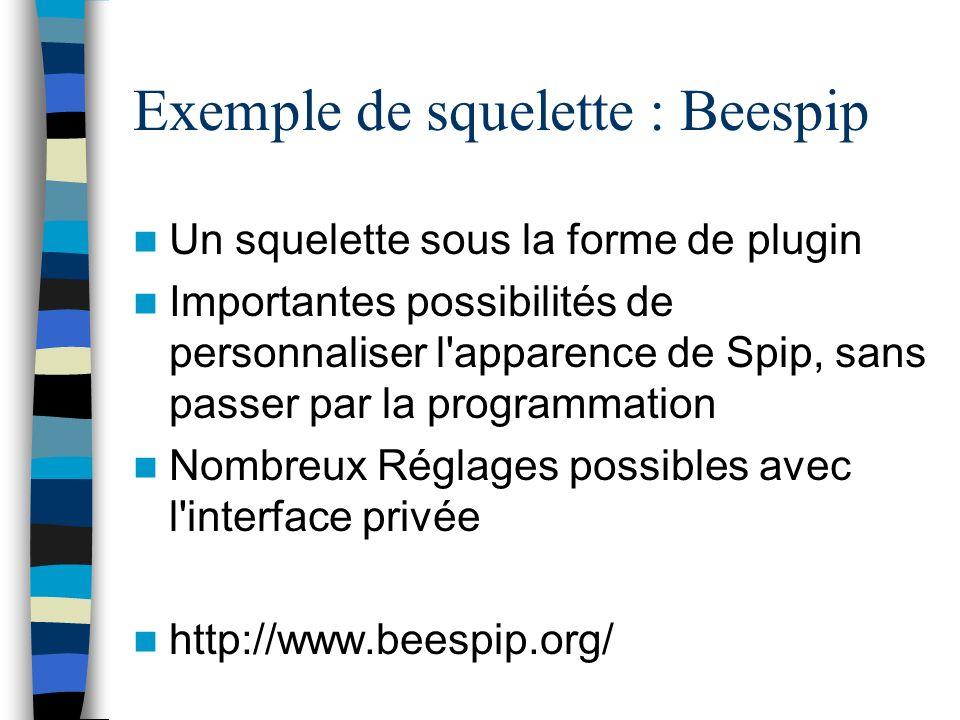Exemple de squelette : Beespip Un squelette sous la forme de plugin Importantes possibilités de personnaliser l'apparence de Spip, sans passer par la