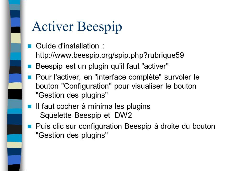 Activer Beespip Guide d'installation : http://www.beespip.org/spip.php?rubrique59 Beespip est un plugin quil faut