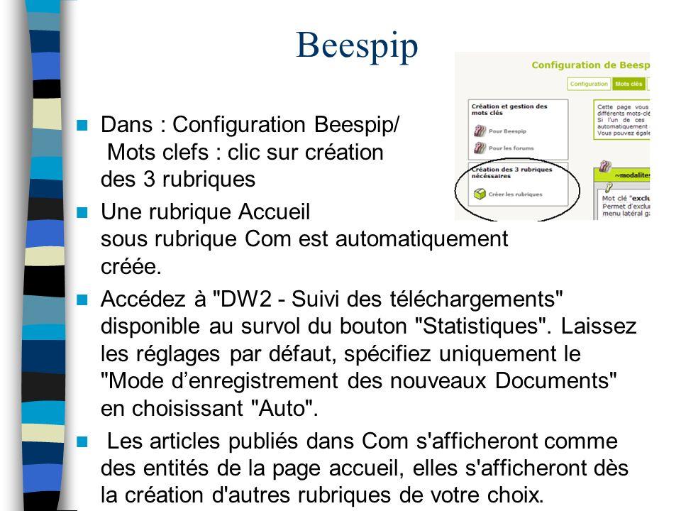 Beespip Dans : Configuration Beespip/ Mots clefs : clic sur création des 3 rubriques Une rubrique Accueil sous rubrique Com est automatiquement créée.