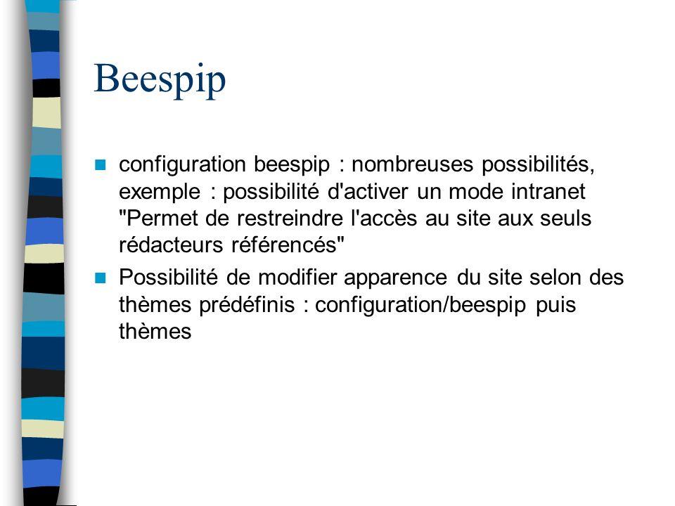 Beespip configuration beespip : nombreuses possibilités, exemple : possibilité d'activer un mode intranet