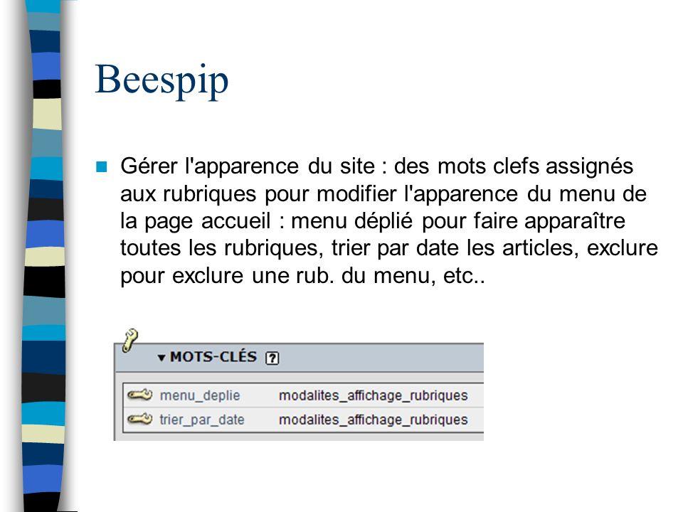 Beespip Gérer l'apparence du site : des mots clefs assignés aux rubriques pour modifier l'apparence du menu de la page accueil : menu déplié pour fair