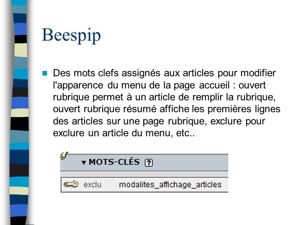 Beespip Des mots clefs assignés aux articles pour modifier l'apparence du menu de la page accueil : ouvert rubrique permet à un article de remplir la