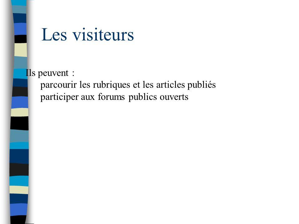 Les visiteurs Ils peuvent : parcourir les rubriques et les articles publiés participer aux forums publics ouverts