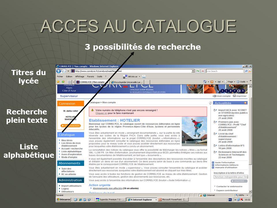 ACCES A LA RESSOURCE Clic sur la ressource recherchée