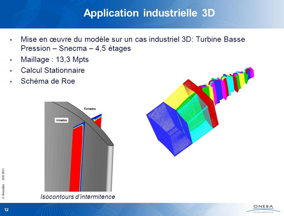 A. Benyahia - JDD 2011 12 Application industrielle 3D Mise en œuvre du modèle sur un cas industriel 3D: Turbine Basse Pression – Snecma – 4,5 étages M