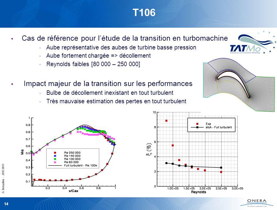 A. Benyahia - JDD 2011 14 T106 Cas de référence pour létude de la transition en turbomachine Aube représentative des aubes de turbine basse pression A