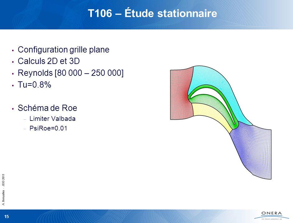A. Benyahia - JDD 2011 15 T106 – Étude stationnaire Configuration grille plane Calculs 2D et 3D Reynolds [80 000 – 250 000] Tu=0.8% Schéma de Roe – Li