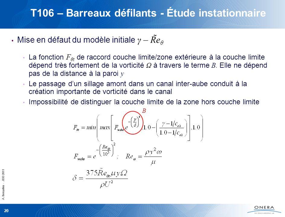 A. Benyahia - JDD 2011 20 T106 – Barreaux défilants - Étude instationnaire Mise en défaut du modèle initiale γ – R̃e θ La fonction F θt de raccord cou