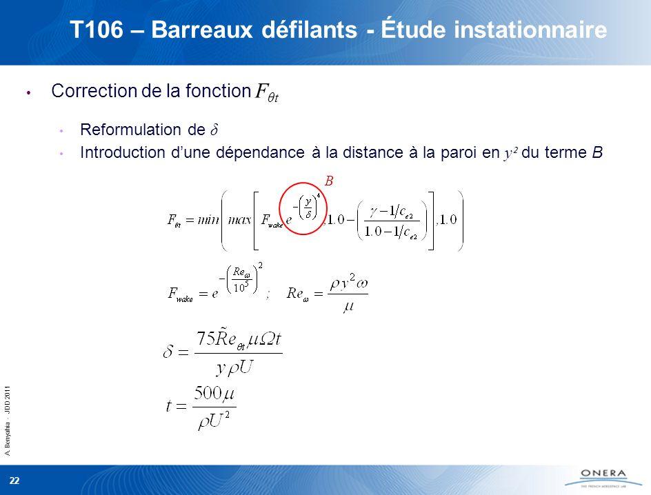 A. Benyahia - JDD 2011 22 T106 – Barreaux défilants - Étude instationnaire Correction de la fonction F θt Reformulation de δ Introduction dune dépenda