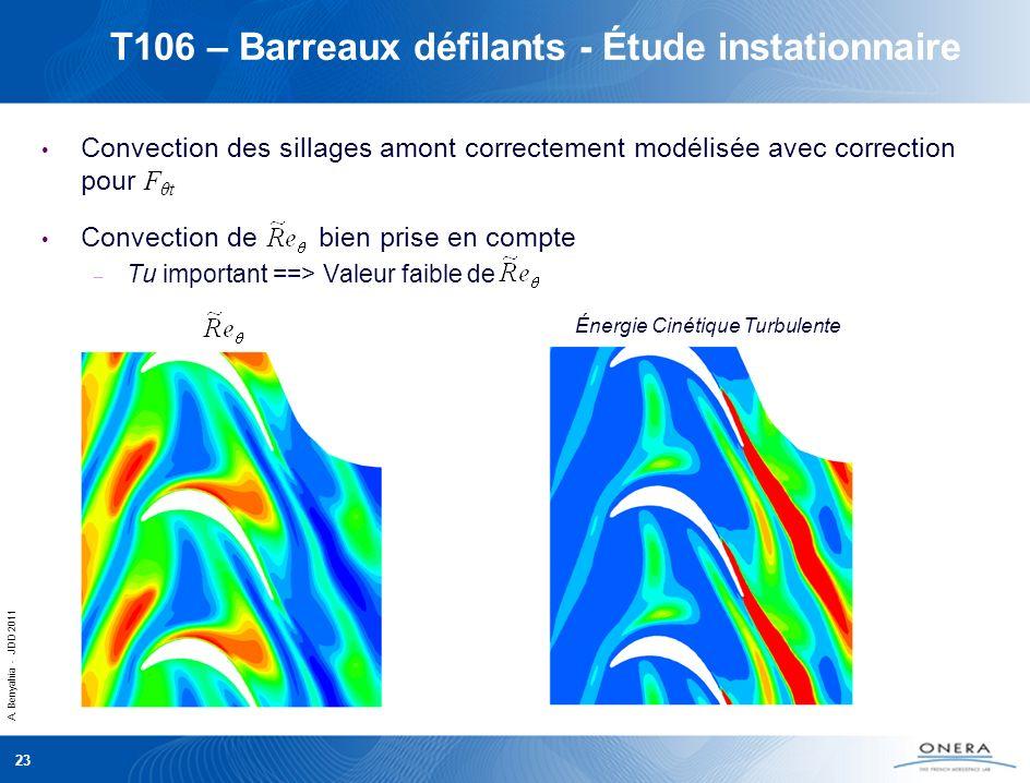 A. Benyahia - JDD 2011 23 T106 – Barreaux défilants - Étude instationnaire Convection des sillages amont correctement modélisée avec correction pour F