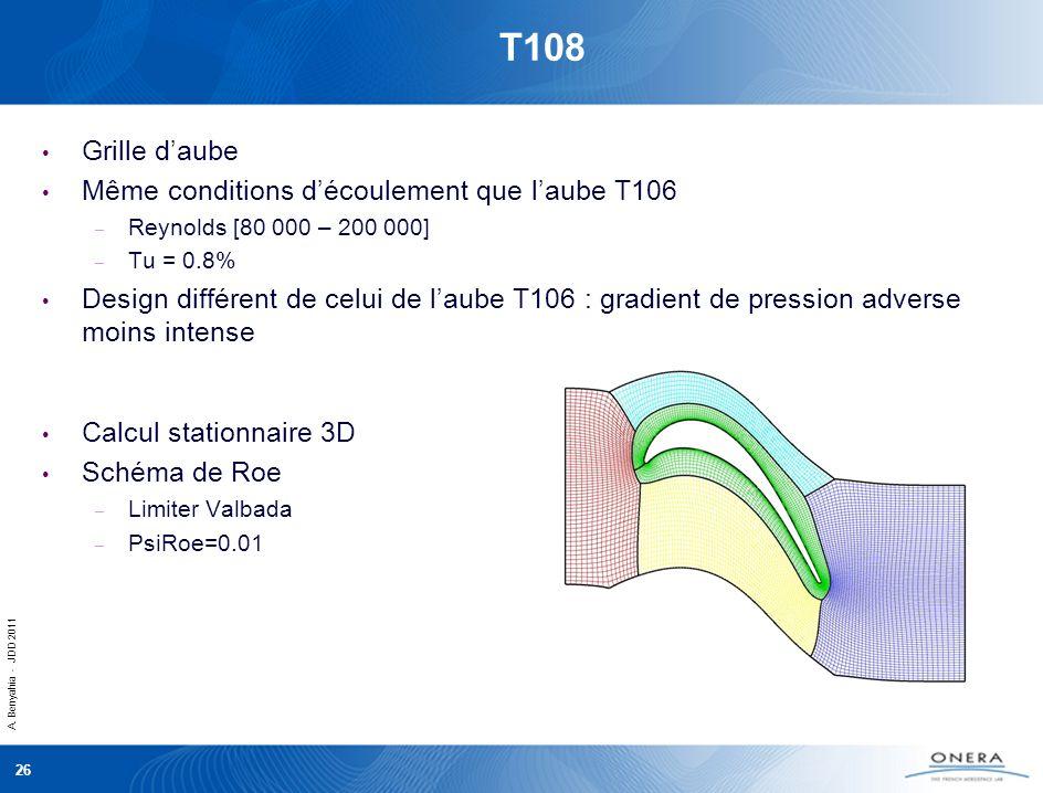 A. Benyahia - JDD 2011 26 T108 Grille daube Même conditions découlement que laube T106 – Reynolds [80 000 – 200 000] – Tu = 0.8% Design différent de c