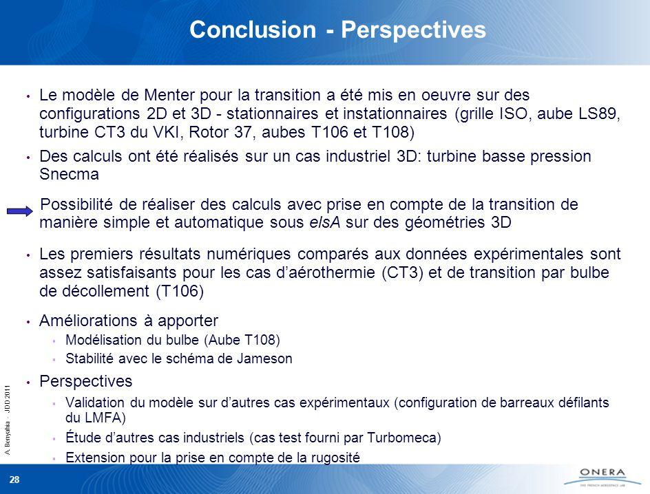A. Benyahia - JDD 2011 28 Conclusion - Perspectives Le modèle de Menter pour la transition a été mis en oeuvre sur des configurations 2D et 3D - stati