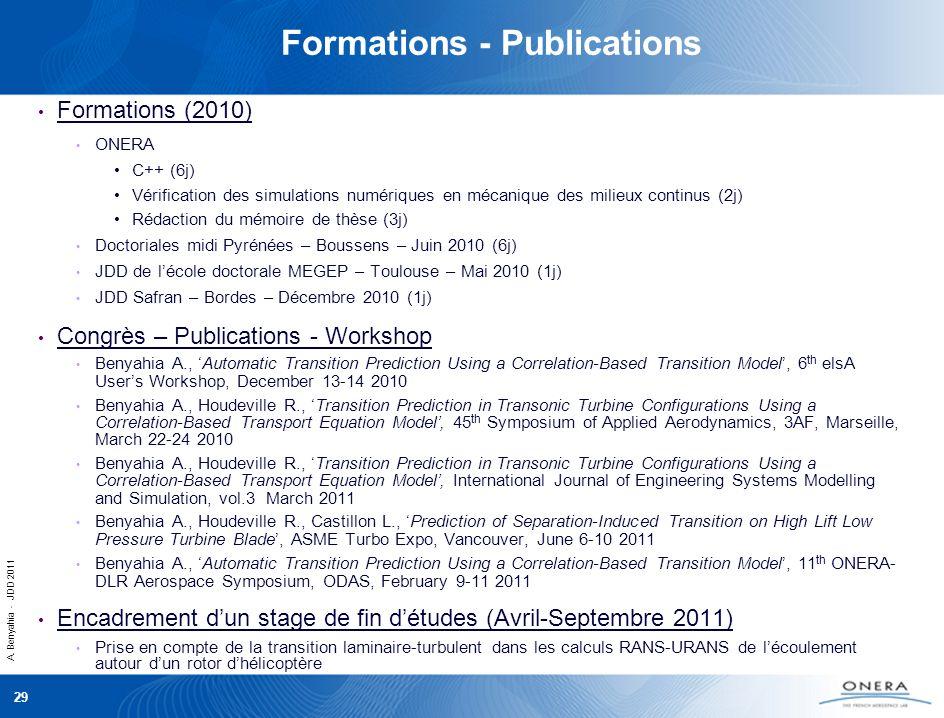 A. Benyahia - JDD 2011 29 Formations - Publications Formations (2010) ONERA C++ (6j) Vérification des simulations numériques en mécanique des milieux