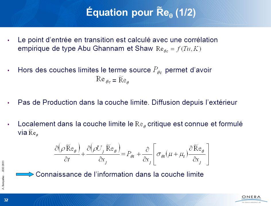 A. Benyahia - JDD 2011 32 Équation pour Re (1/2) Le point dentrée en transition est calculé avec une corrélation empirique de type Abu Ghannam et Shaw