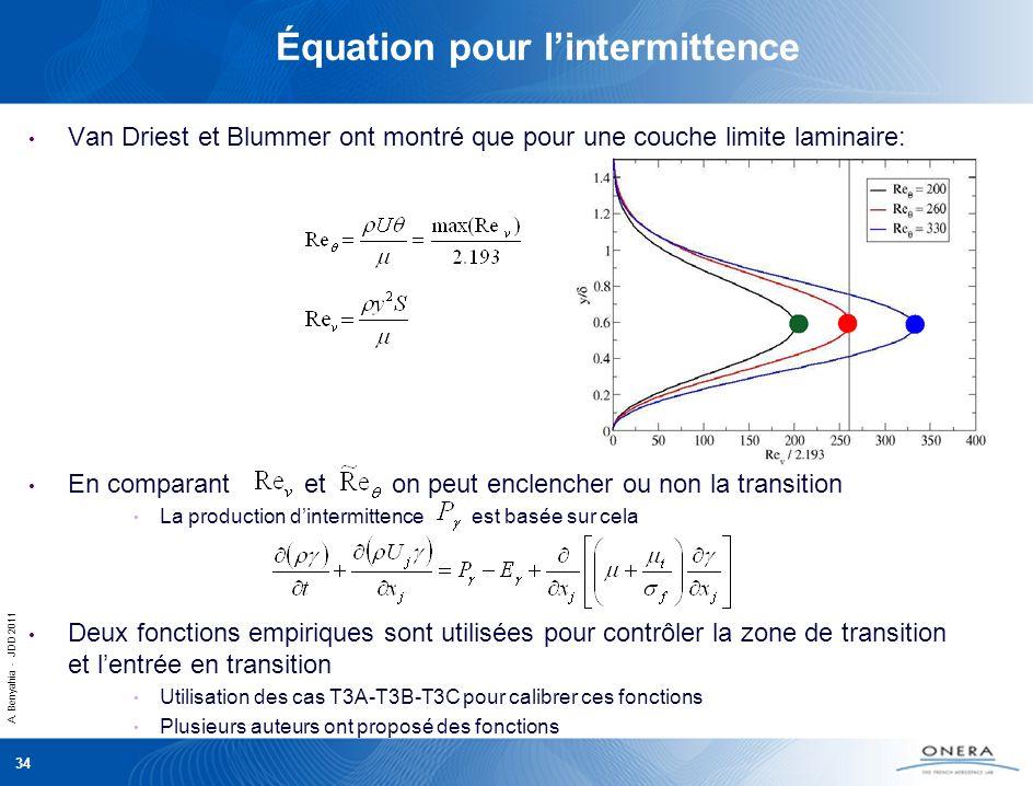 A. Benyahia - JDD 2011 34 Équation pour lintermittence Van Driest et Blummer ont montré que pour une couche limite laminaire: En comparant et on peut