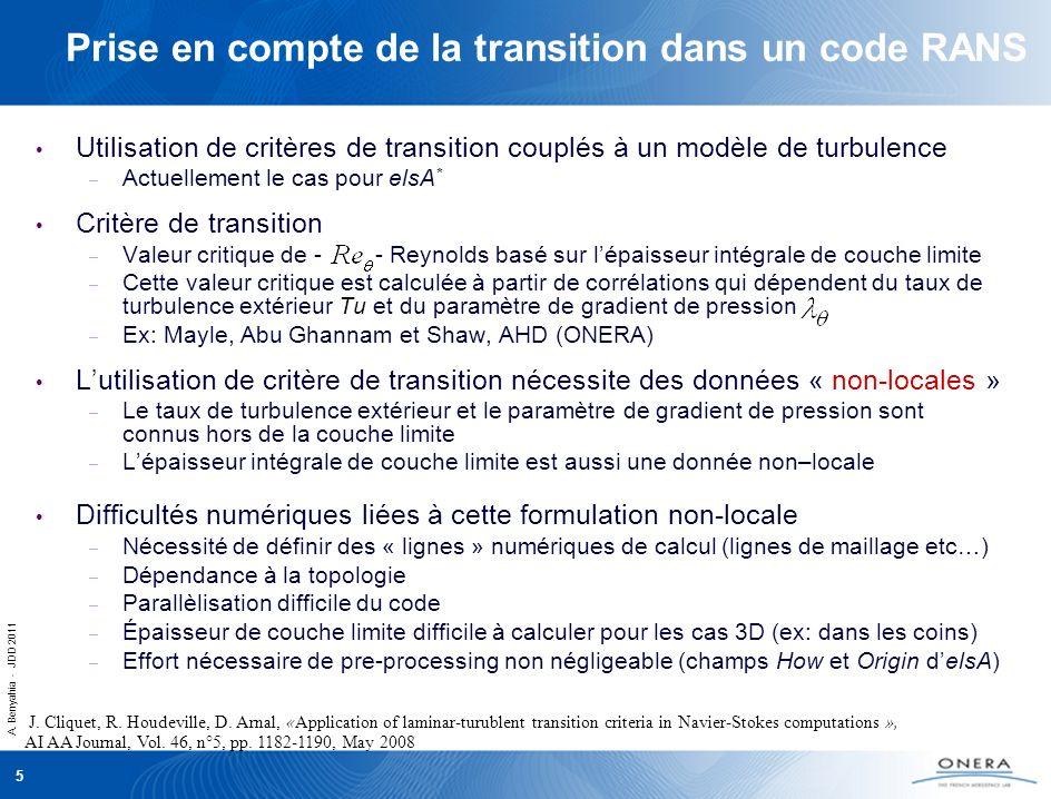 A. Benyahia - JDD 2011 5 Prise en compte de la transition dans un code RANS Utilisation de critères de transition couplés à un modèle de turbulence –