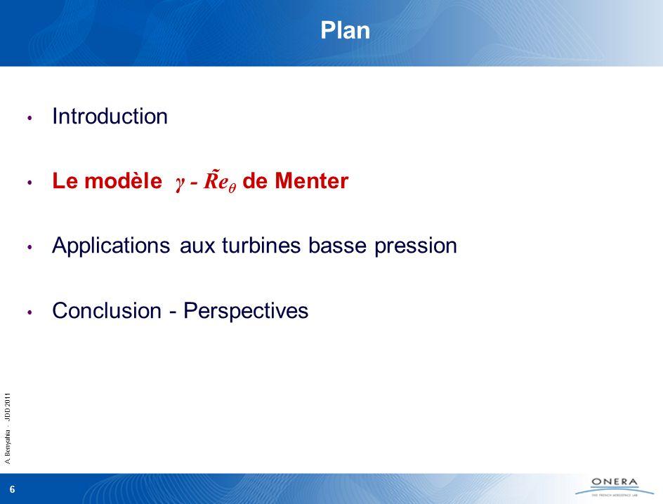 A. Benyahia - JDD 2011 6 Plan Introduction Le modèle γ - R̃e θ de Menter Applications aux turbines basse pression Conclusion - Perspectives