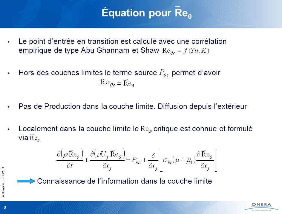 A. Benyahia - JDD 2011 8 Équation pour Re Le point dentrée en transition est calculé avec une corrélation empirique de type Abu Ghannam et Shaw Hors d