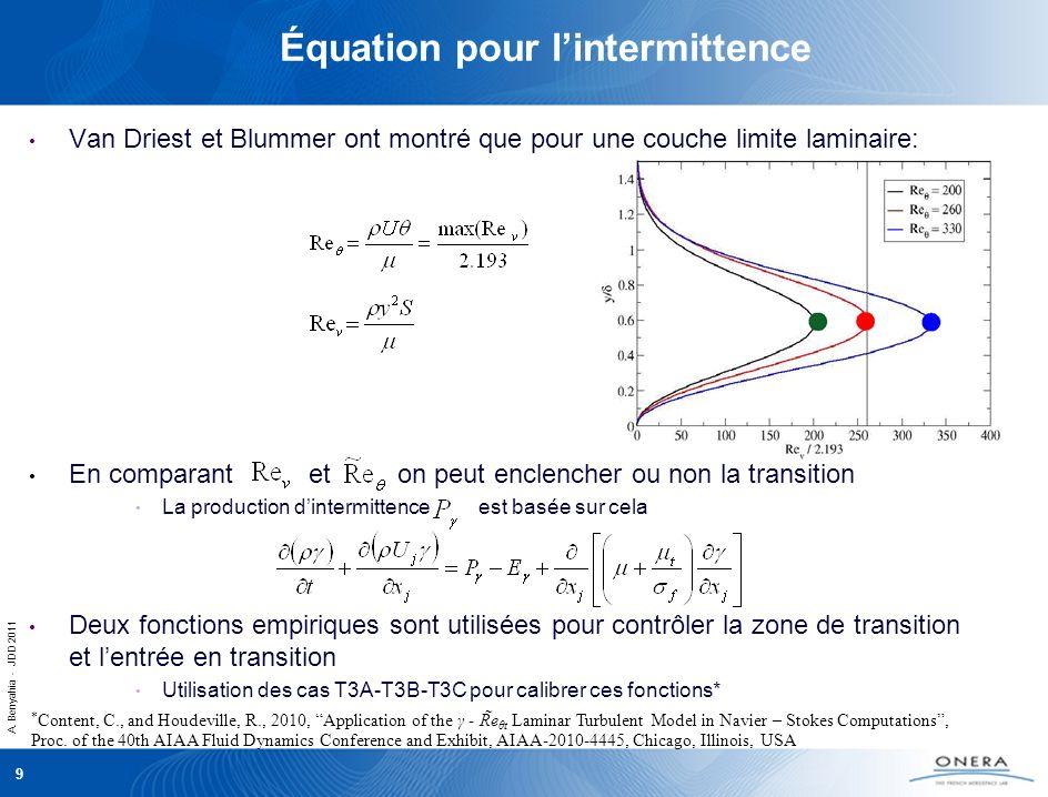 A. Benyahia - JDD 2011 9 Équation pour lintermittence Van Driest et Blummer ont montré que pour une couche limite laminaire: En comparant et on peut e