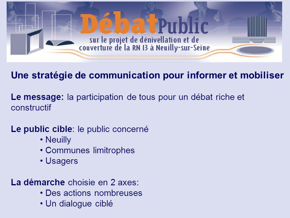 Une stratégie de communication pour informer et mobiliser Le message: la participation de tous pour un débat riche et constructif Le public cible: le