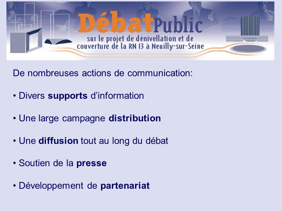 De nombreuses actions de communication: Divers supports dinformation Une large campagne distribution Une diffusion tout au long du débat Soutien de la