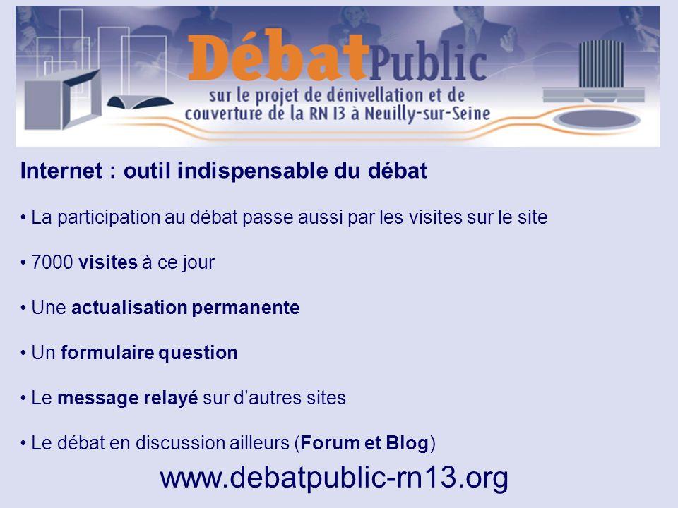 www.debatpublic-rn13.org Internet : outil indispensable du débat La participation au débat passe aussi par les visites sur le site 7000 visites à ce j