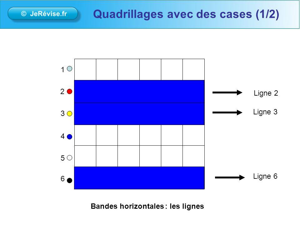 1 2 3 4 5 6 Ligne 3 Ligne 6 Ligne 2 Bandes horizontales: les lignes Quadrillages avec des cases (1/2)