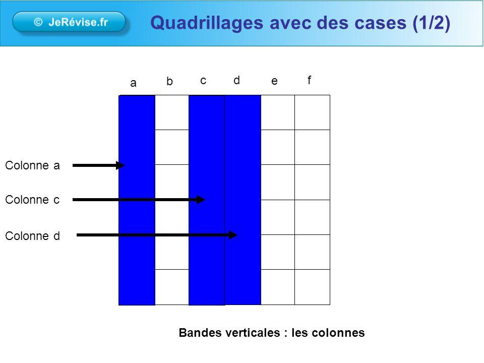 a b cd e f Colonne a Colonne c Colonne d Bandes verticales: les colonnes Quadrillages avec des cases (1/2)