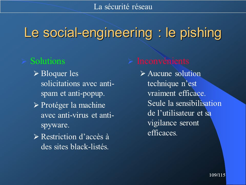 109/115 Le social-engineering : le pishing Solutions Bloquer les solicitations avec anti- spam et anti-popup. Protéger la machine avec anti-virus et a