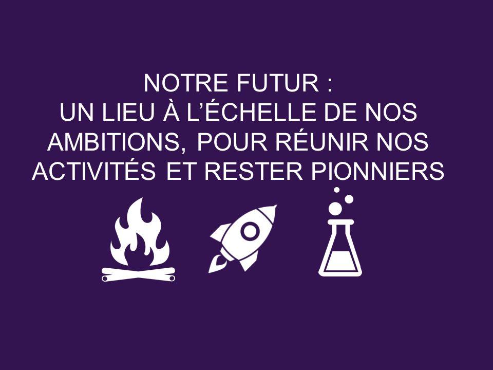 NOTRE FUTUR : UN LIEU À LÉCHELLE DE NOS AMBITIONS, POUR RÉUNIR NOS ACTIVITÉS ET RESTER PIONNIERS