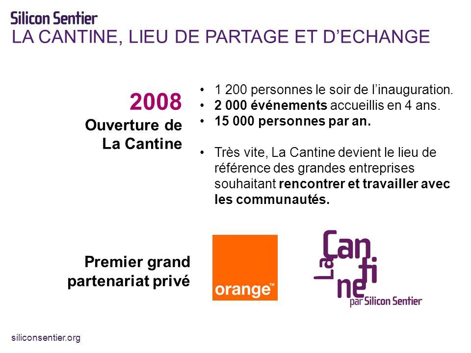 siliconsentier.org LA CANTINE, LIEU DE PARTAGE ET DECHANGE 2008 Ouverture de La Cantine 1 200 personnes le soir de linauguration.