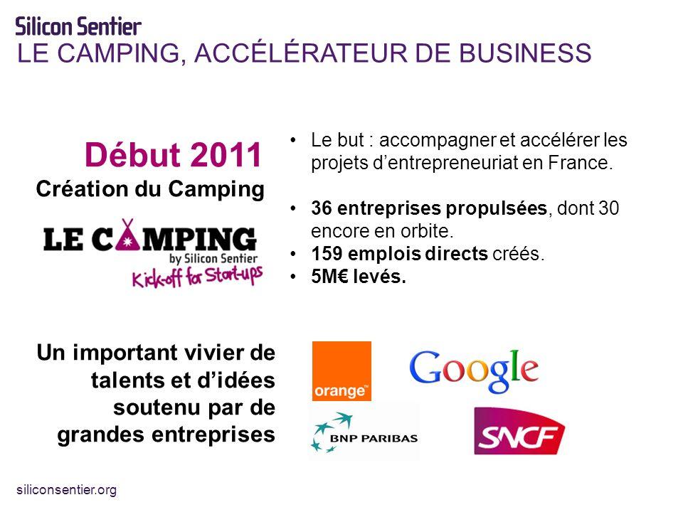siliconsentier.org LE CAMPING, ACCÉLÉRATEUR DE BUSINESS Début 2011 Création du Camping Le but : accompagner et accélérer les projets dentrepreneuriat en France.