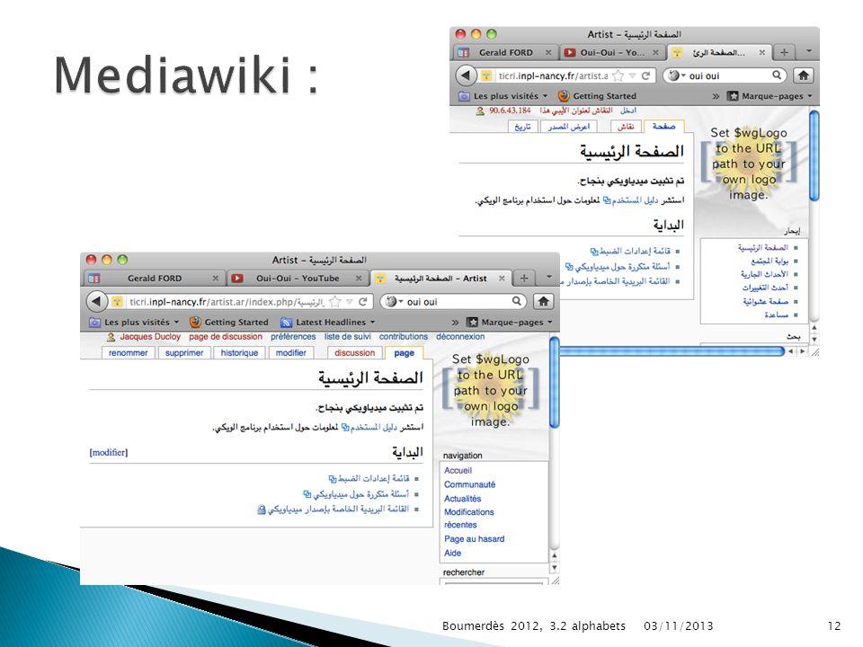 03/11/2013Boumerdès 2012, 3.2 alphabets12