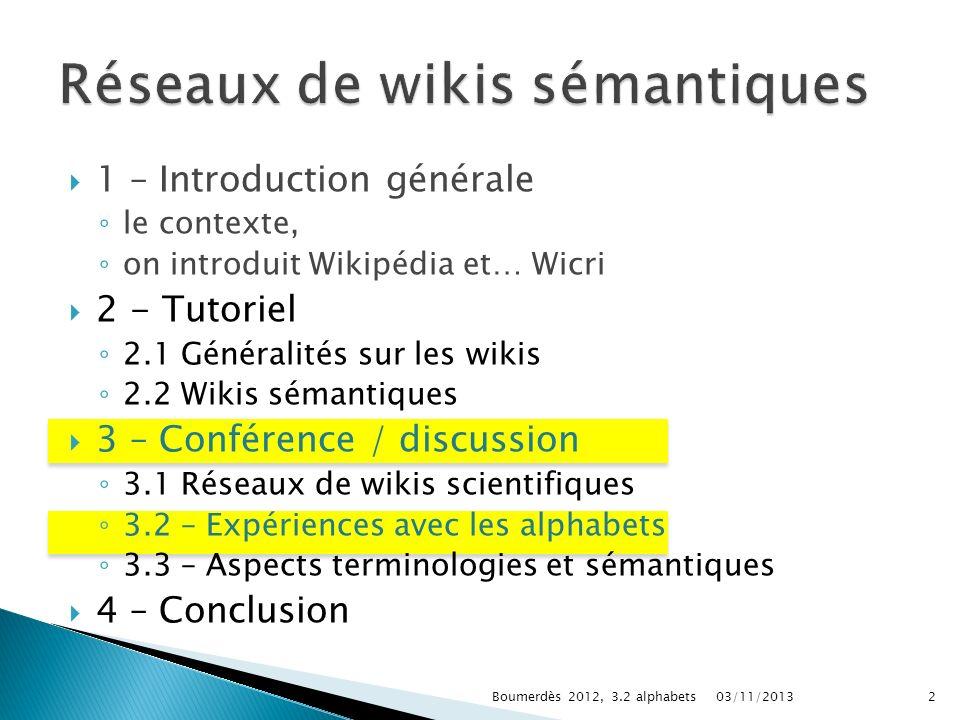 1 – Introduction générale le contexte, on introduit Wikipédia et… Wicri 2 - Tutoriel 2.1 Généralités sur les wikis 2.2 Wikis sémantiques 3 – Conférenc