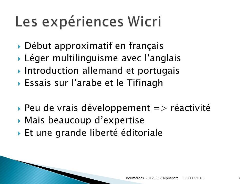 Début approximatif en français Léger multilinguisme avec langlais Introduction allemand et portugais Essais sur larabe et le Tifinagh Peu de vrais dév
