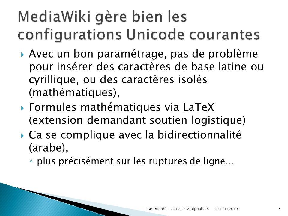 Avec un bon paramétrage, pas de problème pour insérer des caractères de base latine ou cyrillique, ou des caractères isolés (mathématiques), Formules
